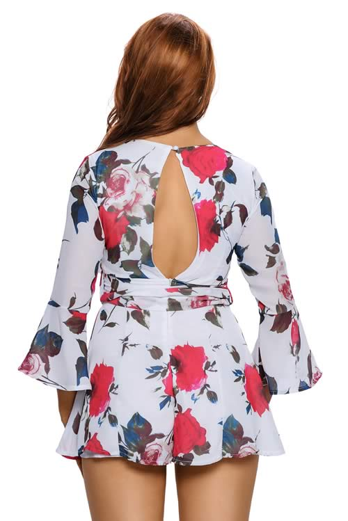 Deep V Neck Floral Printed Bell Sleeve Romper in Red