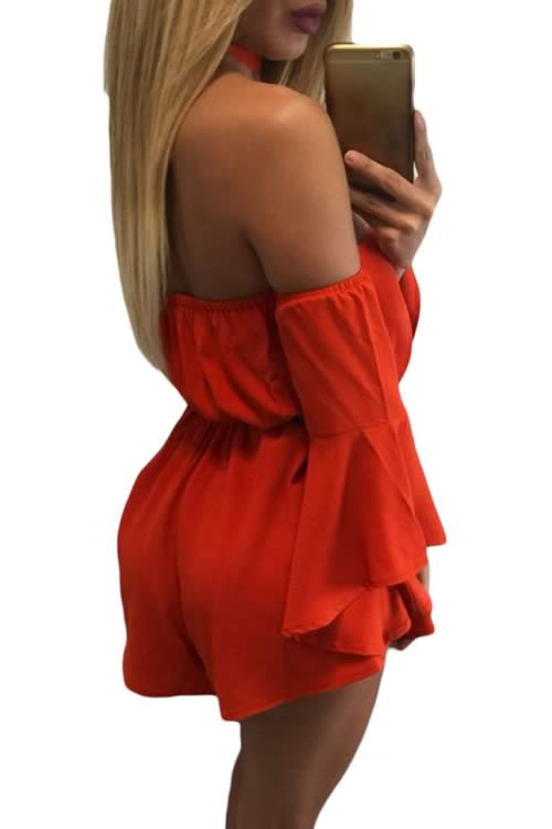 V Neck Bell Sleeve Off Shoulder Belted Romper in Orange