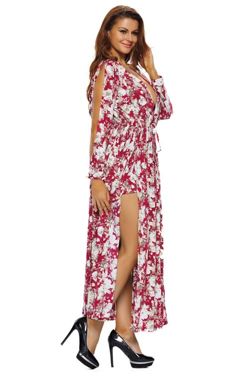 V Neck Split Long Sleeve Floral Printed Maxi Romper Dress in White