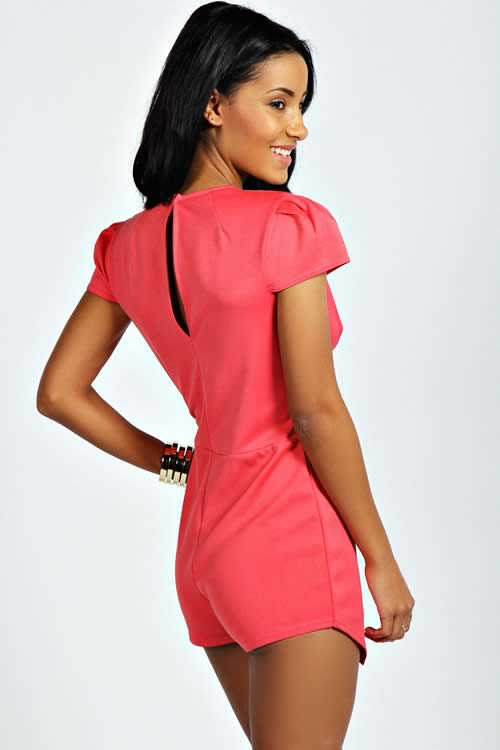 Polish Cap Sleeve Cut Front Party Romper in Pink