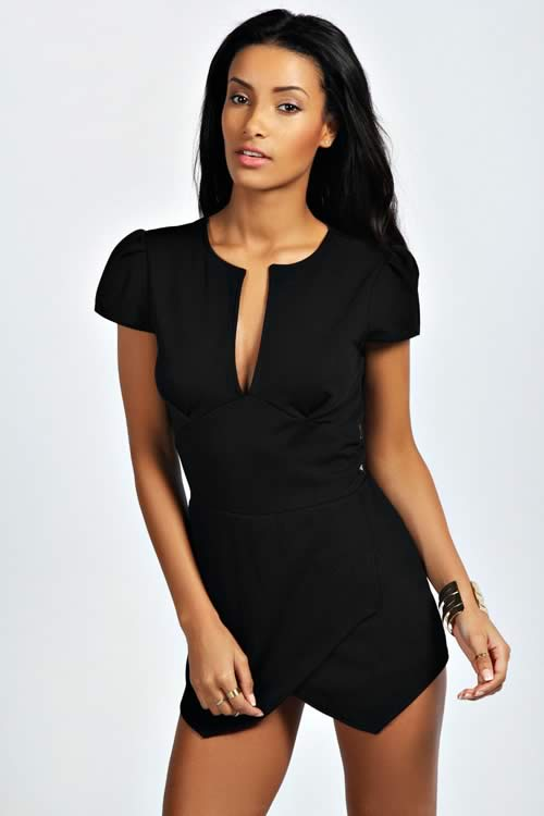 Polish Cap Sleeve Cut Front Party Romper in Black