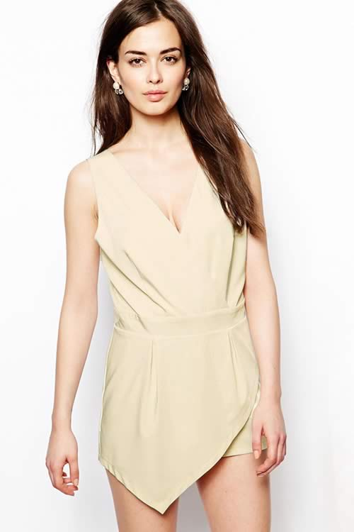 Ruffle Sleeveless V Neck V back Zipper Romper in Beige