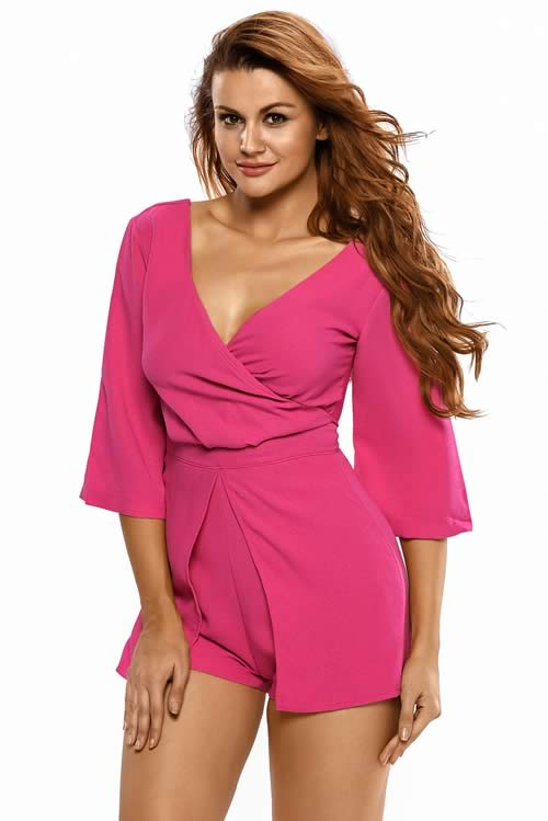 V Neck Kimono Sleeve Zipper back Romper in Rose