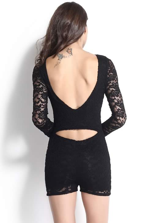 Lace Cutout Long Sleeve V Neck Romper in Black