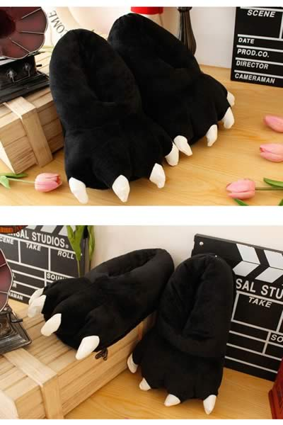 Black Furry Claws Cartoon Cotton Shoes