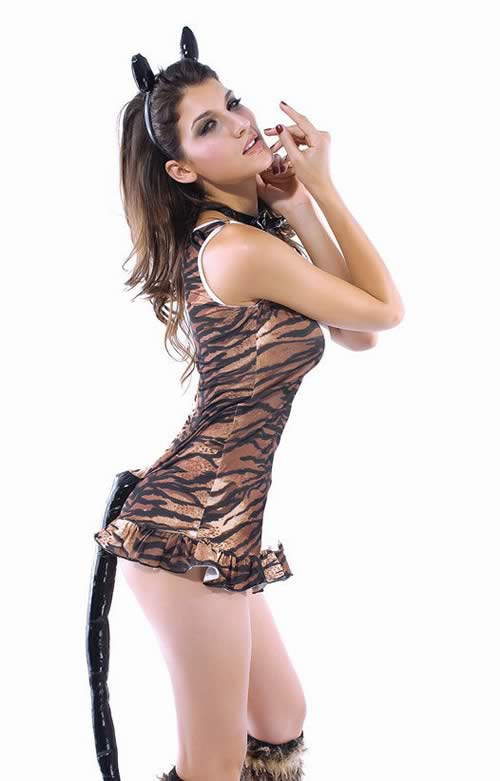Sleeveless Tigress Halloween Costume for Women