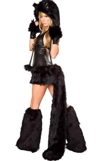 Deluxe Black Cat Halloween Costume with Animal Cosplay
