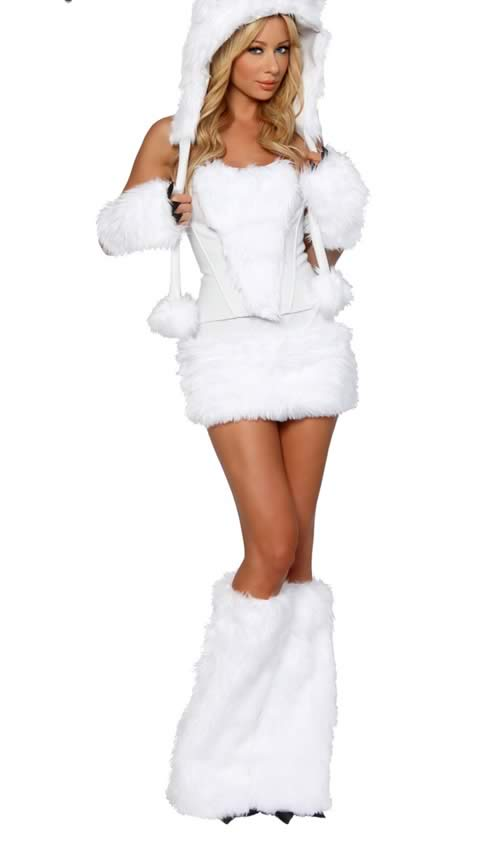 Luxurious Polar Bear Halloween Costume with Animal Cosplay