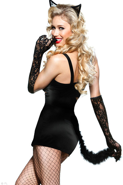 Women Black Naughty Kitty Costume with Zipper Front