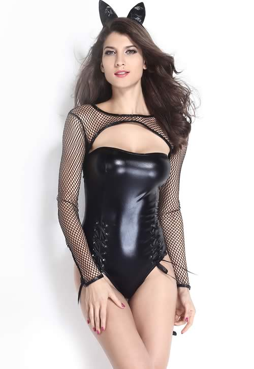 Halloween Miss Kitty Cat Costume in Black