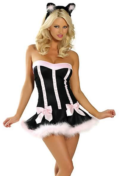 Cosplay Women Cat Halloween Costume in White-Black