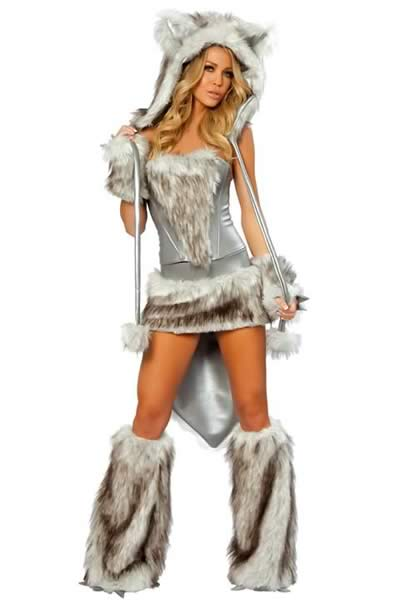 Luxurious Furry Women Leopard Costume in Gray