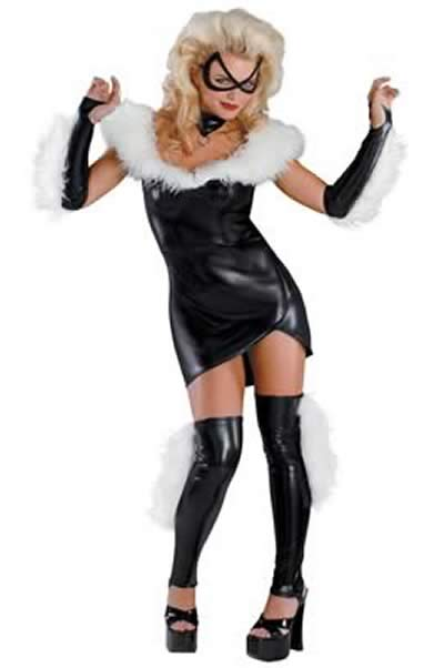 Savage Girl Friend Cat Costume in Black-White