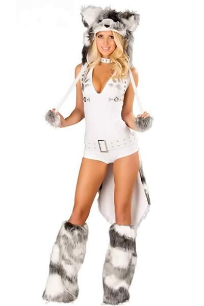 Deluxe Halloween Husky Costume in White
