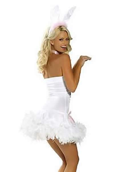 Newest Women Bunny Halloween Costume in White-Pink