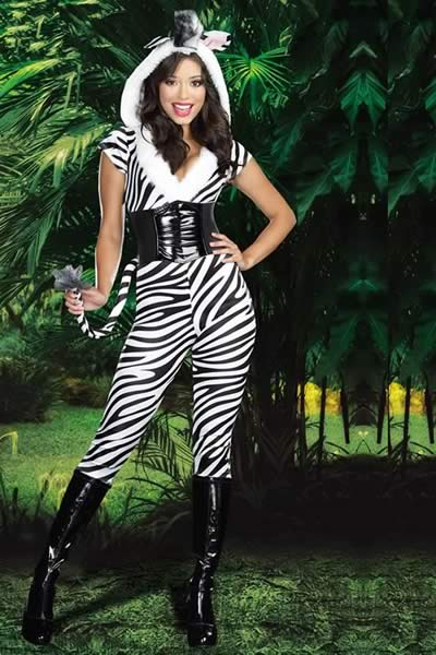 Women Zebra Halloween Costume in Black White