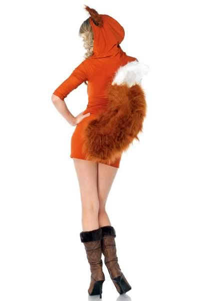 Women Hooded Fox Dress Costume in Orange