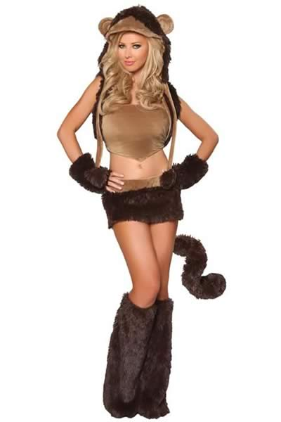 Exclusive Halloween Women Monkey Costume in Brown