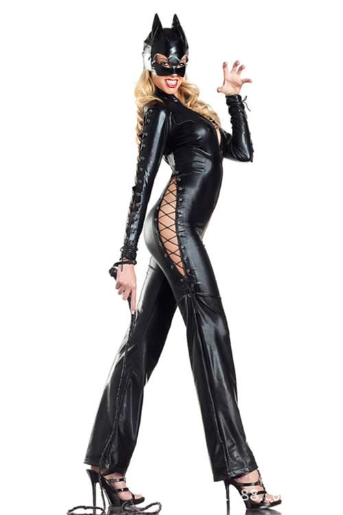 Lace Up Kitty Cat Woman Costume with Face Mask