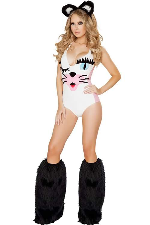 Women White Kitty Halloween Cat costume