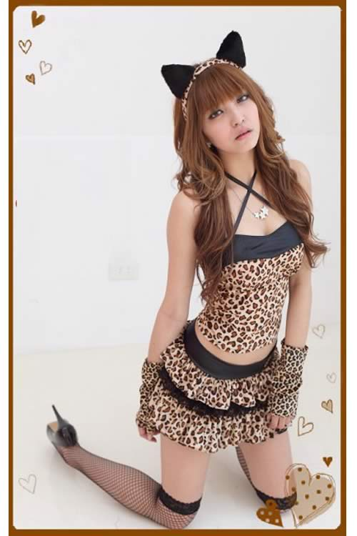 Cosplay Brown Leopard Cat Costume for Girl