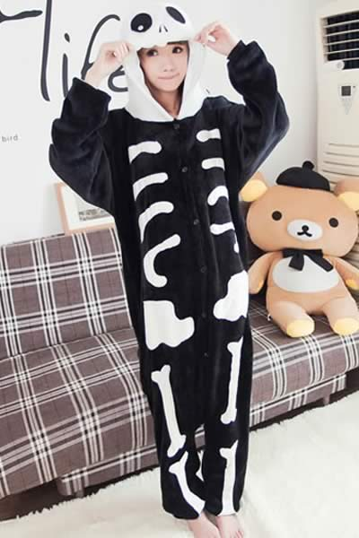 Novelty Skeleton Cartoon Pajamas in White and Black