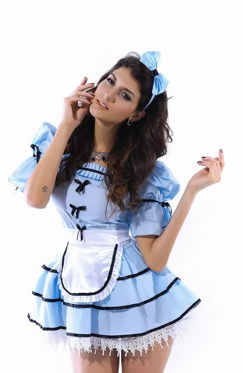 Best Looking Glass Alice French Maid Costume in Blue