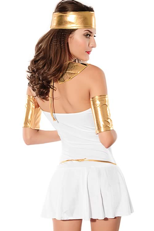 Cosplay Noble Queen of the Nile Costume in White Gold
