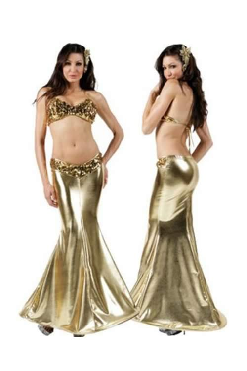 Womens Sequin Bra Mermaid Dress Cosplay Costume in Dark Gold