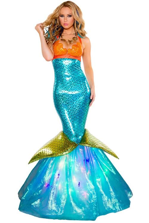 Womens Adult Sea Maid Mermaid Costume Cosplay Halloween Dress