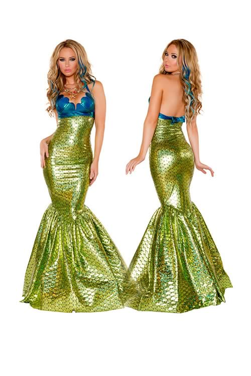 Womens Sea Mermaid Fancy Dress Party Costume in Dark Blue Green