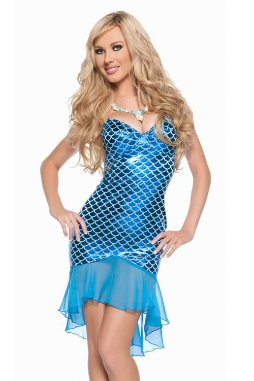 Sexy Adult Halloween Mermaid Costume Gown Dress in Blue