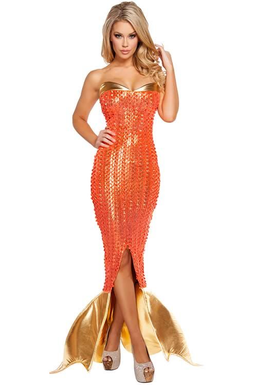 Sexy Ocean Siren Mermaid Halloween Costume in Orange