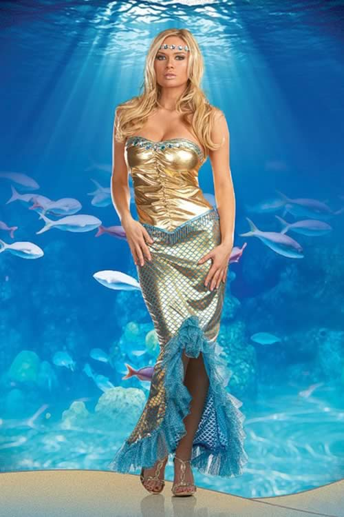 Halloween Sexy Womens Fancy Sea Queen Mermaid Costume