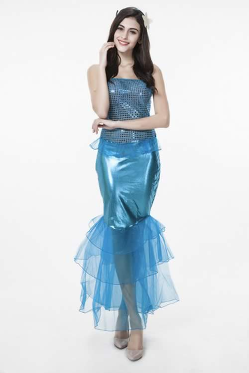 Shining Adult Cosplay Mermaid Princess Costume in Blue