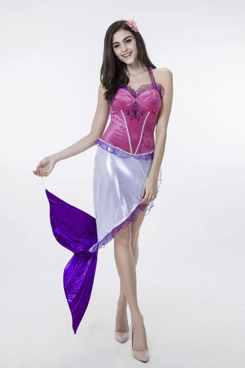 Sexy Halloween Sea Mermaid Princess Costume in Rose Purple