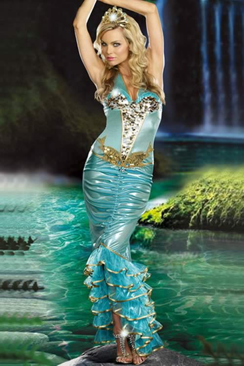 Sexy Adult Halloween Mermaid Costume Dress in Light Blue