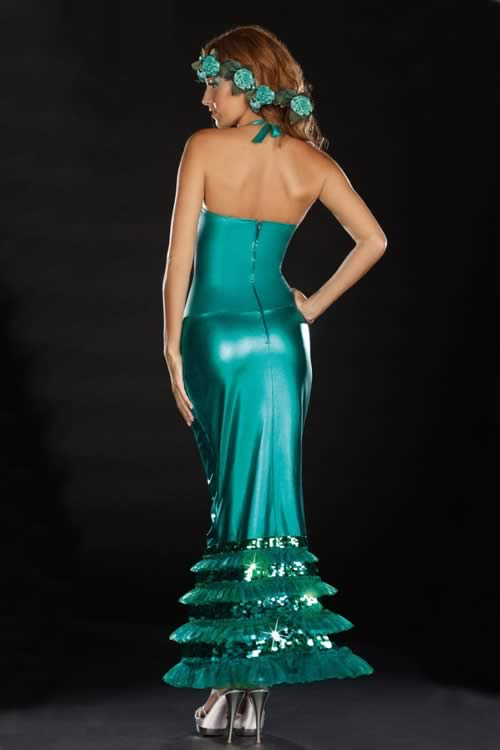 Sexy Adult Halloween Mermaid Costume Dress in Dark Blue