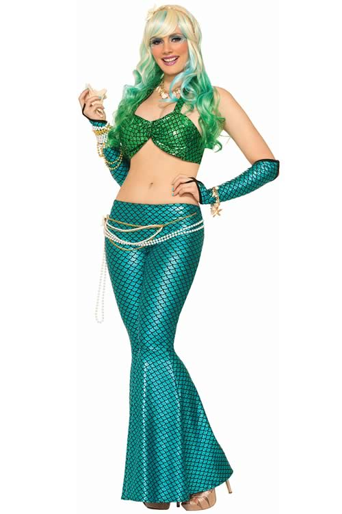 Sexy Womens Bar Pant Halloween Mermaid Costume in Green Blue