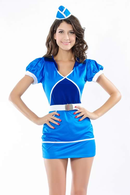 Women Clipper Service Military Costume in Blue