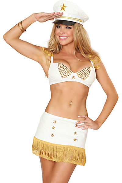 Exclusive Fringe Trim Captain Costume for Women