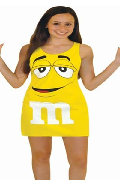 Women Spongebob Halloween Costume with Tunic Tank Dress in Yellow