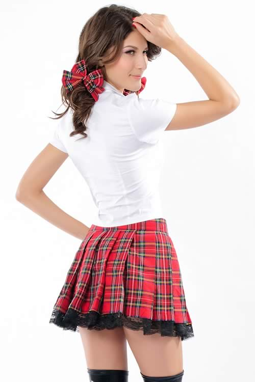 Halloween Cute School Girl Costume in Red White