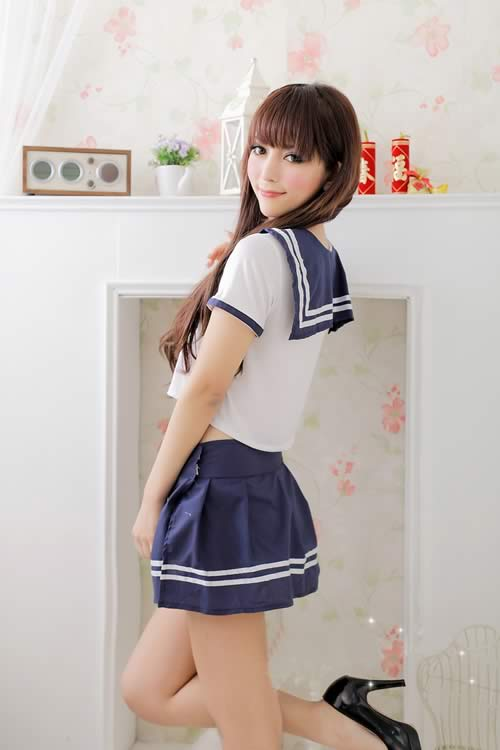 Gorgeous Halloween School Girl Costume in Blue-White