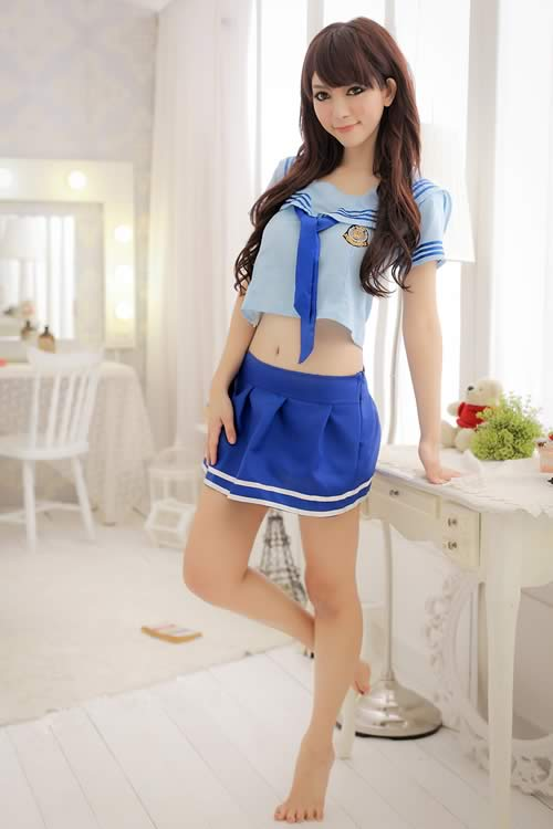 Characteristic Blue School Girl Halloween Costume