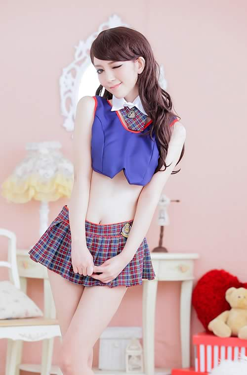 Halloween Plaid School Girl Costume in Blue and Red