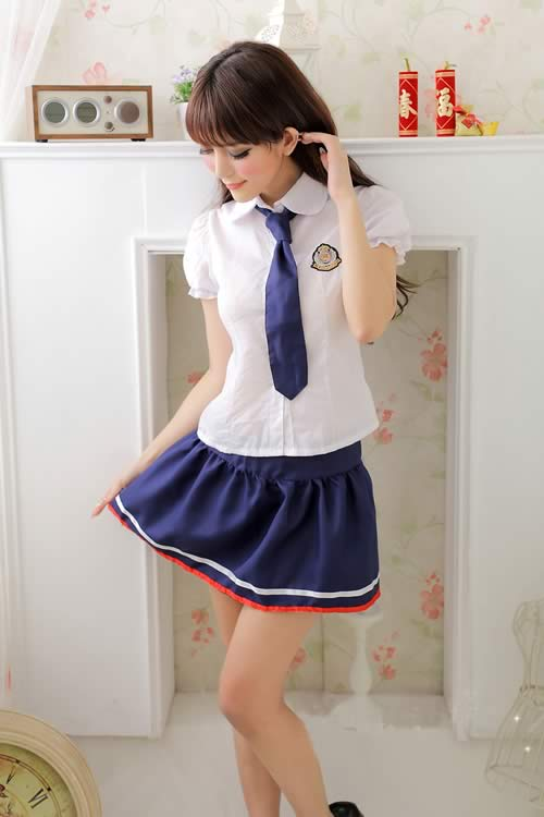 Elegant School Girl Uniform Costume in Blue-White