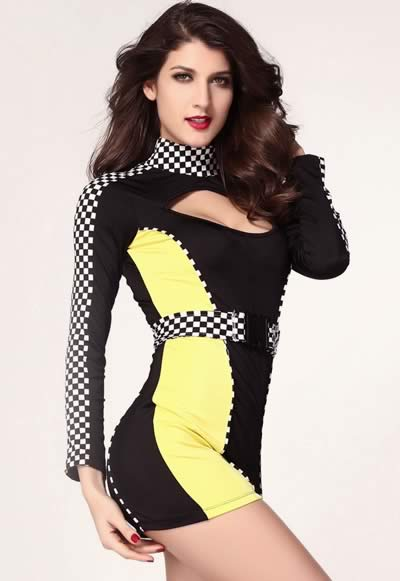 Cute Women Pit Crew Costume in Black and Yellow