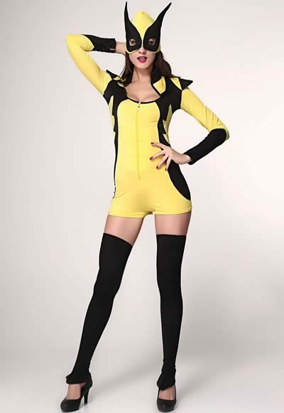 Women Yellow Masked Super Hero Costume