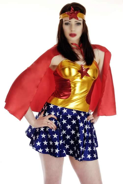 Miss America Superhero Costume with Stars and Stripes
